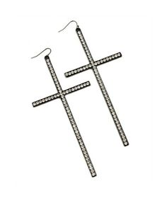 Large Black Cross Earrings With Rhinestones Available At Bling406