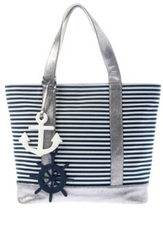 Keep your SKARONG dry in this Blue and white Shiraleah canvas tote while you go for a dip