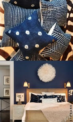 Frank's diverse selection of home accents and framed, handmade textiles from all over the world. Blue Bedroom Walls, Navy Blue Walls, Home Design Decor, House Design, Interior Design, Japanese Inspired Bedroom, Comfy Cozy Home, Japanese Home Decor, Master Bedroom Design