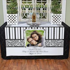 Black & White Custom Photo Table Runner - OrientalTrading.com