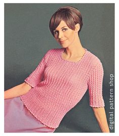 Knit Sweater Pattern Womens Vintage Lace Sweater Knitting Pattern Pullover Top PDF Instant Download -K29