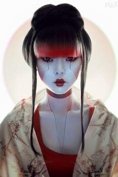 Geisha - Stanislav Istratov on Behance - - chiara Art Geisha, Geisha Makeup, Makeup Art, Geisha Drawing, Art Cyberpunk, Cyberpunk Character, Character Inspiration, Character Art, Character Design