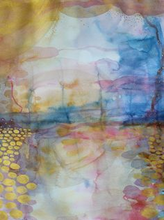 ARTFINDER: Golden Sea by Helen Wells  Abstract watercolour painting