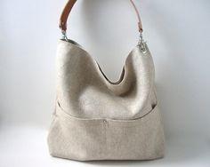 Simple Linen Tote Bag, Handbag,Day Bag, Resort Tote, Summer Tote Bag, Bucket Tote, Hobo Tote, Neutral, Natural, Women, Tote Bag