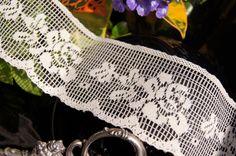 "2¼"" Floral Lace Trim - Natural White | Lace Trim White Roses, White Lace, Scalloped Lace, Floral Lace, Lace Trim, 21st, Natural, Collection, Color"