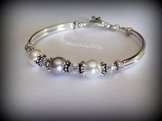 Silver and White Pearl Bracelet: gray white by beadedjewelryforyou