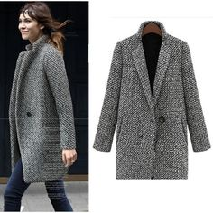 Winter Coat Women Houndstooth Wool Blend Coat Single Button Pocket Oversize Long Trench Coat Outerwear Wool Coat For Women Long Parka Coats, Long Trench Coat, Trench Jacket, Wool Coats, Long Overcoat, Women's Coats, Winter Coats Women, Coats For Women, Jackets For Women