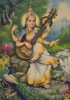 Goddess Sarasvati is my patron Saint. She's from the Hindu tradition. Goddess of Divine Truth, learning, wisdom, music, poetry. She plays the Veen. Her vehicle is the swan and her animal is the peacock. She was originally known as the river goddess. Indian Gods, Indian Art, Indian Music, Mantra, Saraswati Goddess, Saraswati Mata, Saraswati Photo, Goddess Art, Religion