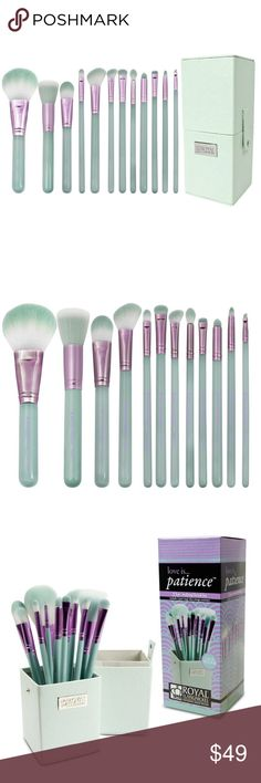 12 Piece Blue Makeup Brush Set & Case - Patience Light blue and lavender high quality makeup brush set for eyes and face. Synthetic brushes. Brand new never opened. Save the most with bundles. I offer 25% off on bundles of 2+ items. I accept reasonable offers. No trades. I only do business on Poshmark. Royal Langnickel Makeup Brushes & Tools