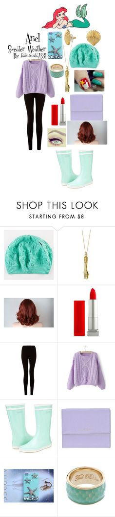 """Ariel Sweater Weathet"" by fashionista7331 ❤ liked on Polyvore featuring Monserat De Lucca, C. Wonder, Maybelline, Aigle, Furla, Disney and Ted Baker"