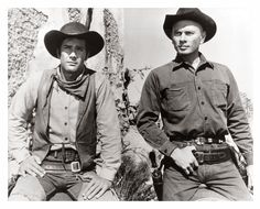 "Actors Robert Fuller and Yul Brynner on set of the movie ""Return of. Larry Cohen, Warren Oates, Robert Fuller Actor, Celebrities Who Died, Julie London, Yul Brynner, The Magnificent Seven, Best Hero, Next Film"