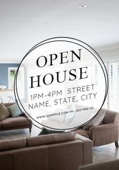 A stunning background image of a sitting room with text box displaying open house and an address. Open House Invitation, Real Estate Buyers, Street Names, Background Images, Display, Templates, Box, Floor Space, Stencils