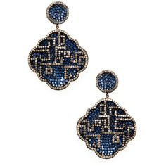 Arthur Marder Fine Jewelry Women's 8.00 Total Ct. Blue Sapphire & 3.00... (€1.675) ❤ liked on Polyvore featuring jewelry, earrings, brinco, no color, blue sapphire drop earrings, diamond jewellery, pave diamond jewelry, diamond drop earrings and diamond earring jewelry