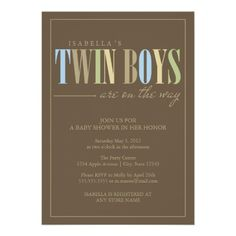 5 x 7 Twin Boys | Baby Shower Invite