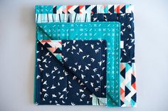 Modern baby quilt, Teal Baby quilt, Handmade quilt, Gender-neutral, Modern fabric, Flying birds, Domino dot, Teal, Multi-color on Etsy, $95.00
