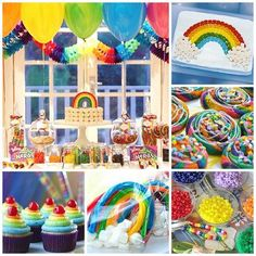 Ultimate Rainbow Party Ideas- due to the primary Colors at the gym I may incorporate this theme