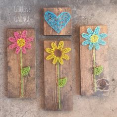 String Art Flower Nursery Decor Gifts For Her by GibbensGarage String Wall Art, Nail String Art, String Crafts, Crafts To Make, Arts And Crafts, String Art Patterns, Flower Nursery, Thread Art, Pin Art