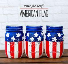 Mason Jar Craft Ideas: Red, White, Blue American Flag Mason Jar