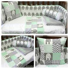 Elephant theme baby linen in white, grey & mint. For more details and info visit our website: www.tulatu.co.za #nursery
