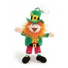 "Finnegan Leprechaun mascot 6"" high with suction"