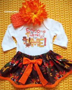 My First Thanksgiving day baby girl outfit onesie Everyone is thankful for me dress skirt baby shower newborn 0 3 6 9 months bow headband