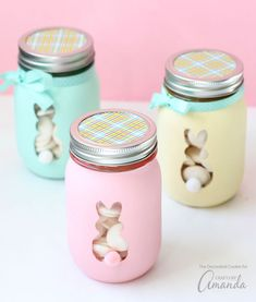 Easter bunny crafts activities and treat ideas easter bunny easter bunny mason jars are a cute diy easter decor idea or fill with easter candy and give as a homemade gift negle Choice Image