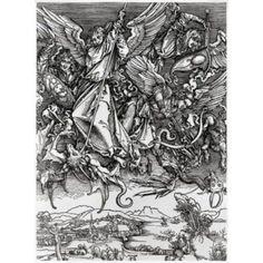St Michael Fighting the Dragon Albrecht Durer (1471-1528 German) Engraving Canvas Art - Albrecht Durer (18 x 24)