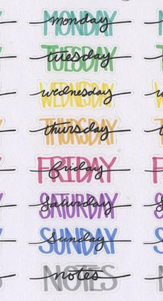 Hand Drawn Bullet Journal (BUJO) Style Weekly Headers for your planner. Each sheet contains 4 sets of Weekday Names and Notes Headers. Each Sticker is approx inches wide. Due to the hand drawn nature of these stickers the size will have slight variations. Bullet Journal Writing, Bullet Journal Headers, Bullet Journal Banner, Bullet Journal Aesthetic, Bullet Journal 2019, Bullet Journal Ideas Pages, Bullet Journal Inspiration, Bullet Journal Hand Lettering, Bullet Journals