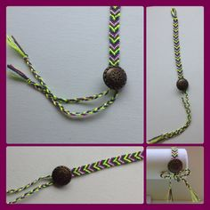 Button friendship bracelet with braided ends