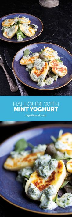 Bowl your guests over with these hot halloumi slices served with fresh mint yoghurt over mixed leaves. It makes an amazing vegetarian starter or meze and easy to put together at the last minute.