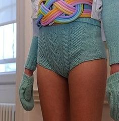 Lovely knickers knitted by Lizzie King and designed by Fred Butler