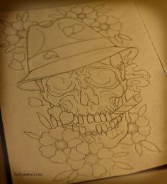 skull flower цветы рисунок дизайн скетч design sketch diseno old school neo traditional tattoo tatuaje тату в традиционном стиле традиция олд скул традишнл   цветная татуировка  в Санкт-Петербурге