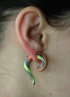 Faux Gauge Earrings Tropical by Sulas on Etsy, $20.00