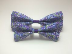Pet Bow Tie - Purple, Blue, Green Paisley Pattern - Over the Collar - Custom by HemptressDesigns on Etsy