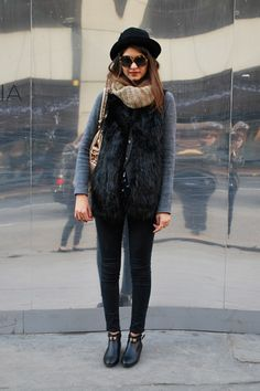 """Mayssa Kachicho """"I'm wearing a gilet and scarf from H with Topshop skinny jeans, Primark ankle boots and a Balenciaga bag. Punk Fashion, Urban Fashion, Boho Fashion, Womens Fashion, Street Fashion, Street Chic, Street Style, Black Fur Vest, Fur Gilet"""