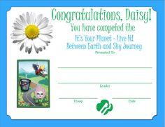 Daisy Between Earth & Sky Journey Certificate