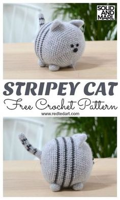 How to Crochet a Toy Cat. Adorable Solid and Marl Crochet Pattern Free Free Cat Crochet Pattern. How to Crochet a Toy Cat. Adorable Solid and Marl Crochet Pattern FreeFree Cat Crochet Pattern Stripey by Redtedart.With of free amigurumi and crochet to Chat Crochet, Crochet Mignon, Crochet Cat Toys, Crochet Cat Pattern, Crochet Gifts, Crochet Dolls, Things To Crochet, Crochet Stuffed Animals, How To Crochet