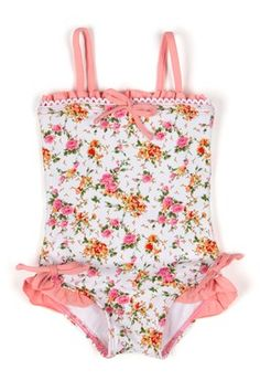 Azul La Vie En Rose One Piece - adorable Little Girl Fashion, Toddler Fashion, Fashion Kids, Little Girl Swimsuits, Toddler Swimsuits, American Girl Clothes, Girl Doll Clothes, Pullover Shirt, Baby Swimsuit