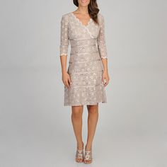 @Overstock.com - Ignite Evenings Women's Allover Lace Evening Dress - Ignite Evenings Women's 3/4 sleeve, surplus front, v-back, allover lace, sequin embellishment, ribbon detail, back zip, fully lined, A-line, knee length dress  http://www.overstock.com/Clothing-Shoes/Ignite-Evenings-Womens-Allover-Lace-Evening-Dress/8268264/product.html?CID=214117 $84.99