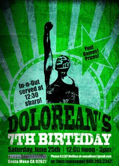 Lucha Libre birthday invitation (green, any color available)