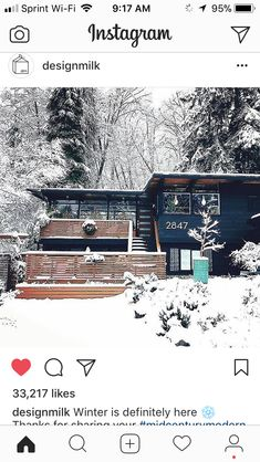 Mid century home - love the exterior paint color against the snow.