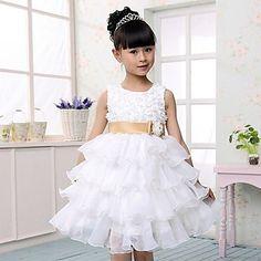 uma linha sem mangas de tule camadas de casamento / noite vestido da menina flor – EUR € 49.49