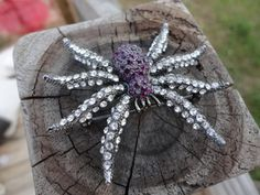 SPIDER  STONE BROOCH  Spider Jewelry  Insect  Spider by joansfinds