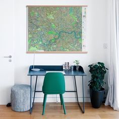 Add some zing to a minimalist office space with a splash of green. We love the pop of green in this stunning gloss finished #futuremap. #modern #map #design #minimalist #interior #retrochic
