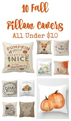 10 Fall Pillow Covers All Under $10. Fall decor. Cute pillows for Fall.