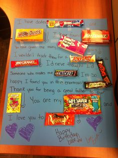 My hubby's bday is tomorrow (2/25) and he's so hard to shop for! So, I made him this with all his favorite candies! Cost with the poster board was around $14!