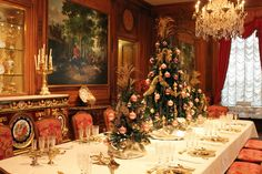 This magnificent display in the Dining Room was influences by Marjorie Merriweather Post's Christmas table in Brussels.