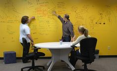 IdeaPaint -Flexible Dry Erase Paint ~ wondering if this would work over magnetic primer? That would rock! Dry Erase Paint, Dry Erase Wall, Dry Erase Board, Orange Accent Walls, Painted Boards, Long Island City, Diy Network, Learning Spaces, In The Heights