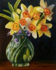 Daffodils With Phlox Oil Painting Still Life Art Jonquils Narcissus Flowers Vase, painting by artist Debra Sisson