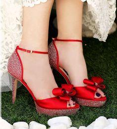 Milk & Honey Crystal Embellished Red Satin Shoes-shoes, custom shoes, bespoke shoes, handmade shoes, handcrafted shoes, bridal shoes, bridesmaid shoes, wedding shoes, prom shoes, pageant shoes, party shoes, club shoes,  designer shoes, sweet sixteen shoes, bridal accessories, red bridal shoes, red shoes, red satin shoes, red crystal shoes, red platform shoes, red, red weddings, red bridal accessories, allyson james,
